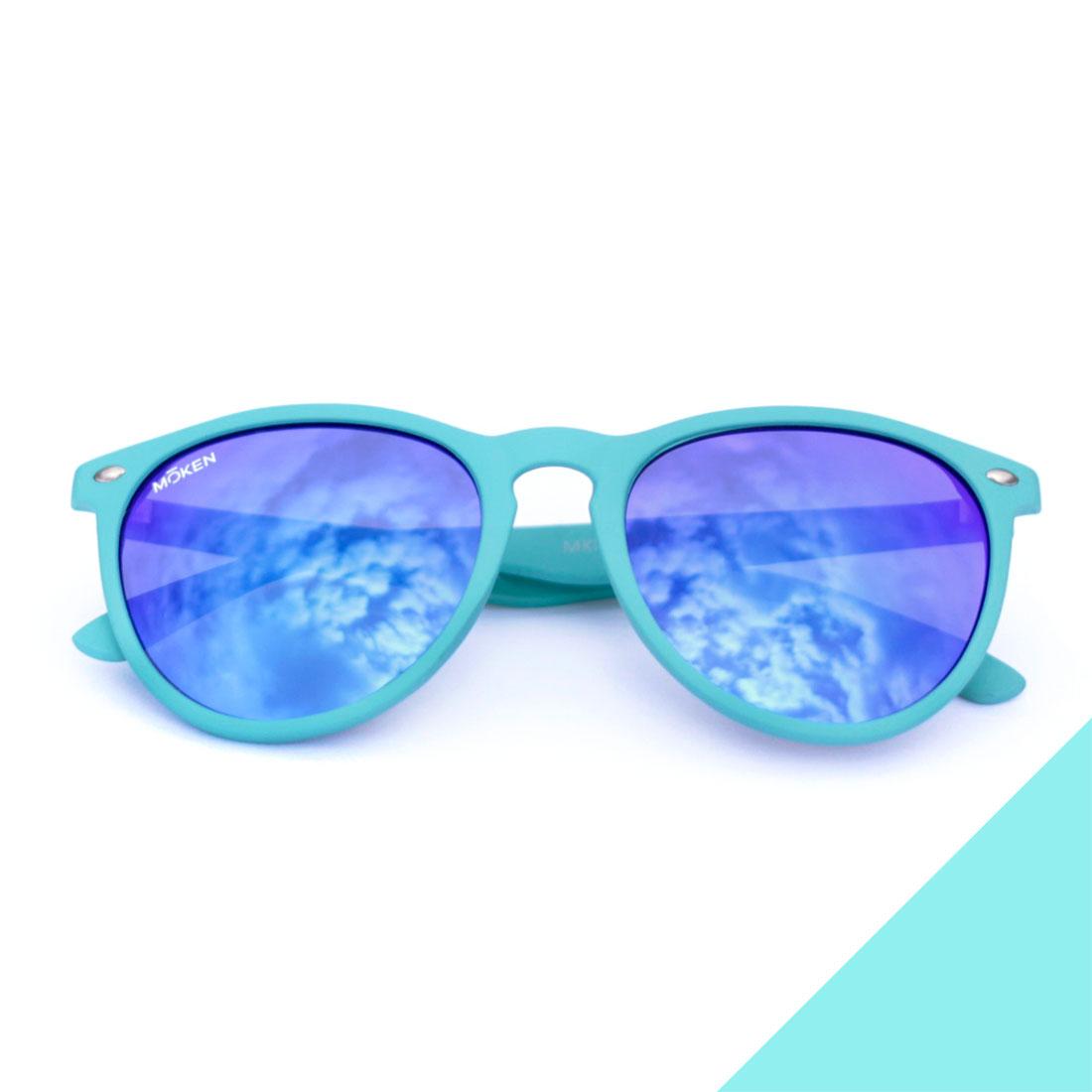 Modèle solaire MAYDAY montures bleues et verres flash bleus